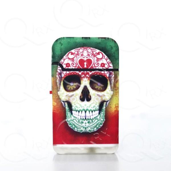 Marijuana Skull Venture Dual Torch Flip Lighter