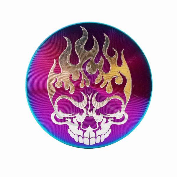 Flaming Skull Rainbow Metal Grinder
